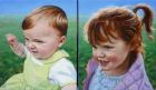 "'Lulu & Ella Higginson' oil on two canvases - each canvas 5"" x 6"" Private collection (commission)"